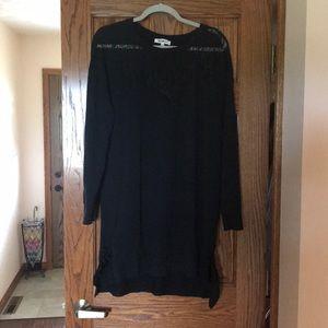 Black Lace Detail Sweater Dress